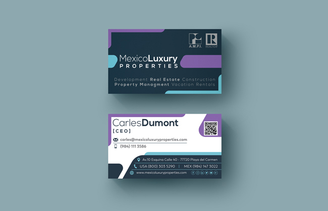 Business Cards Design for Mexico Luxury Properties